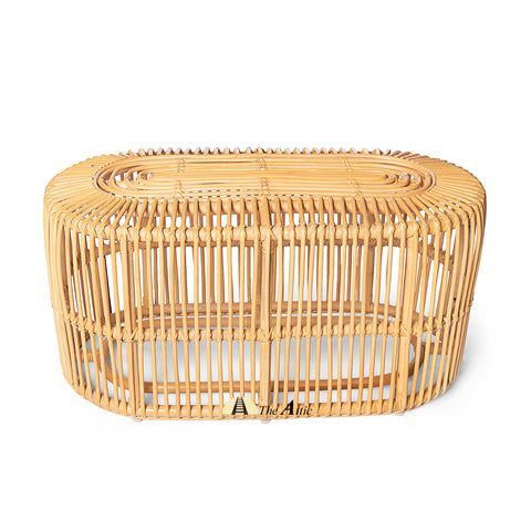 Linda Natural Rattan Oval Coffee Table, Rattan Furniture - The Attic Dubai