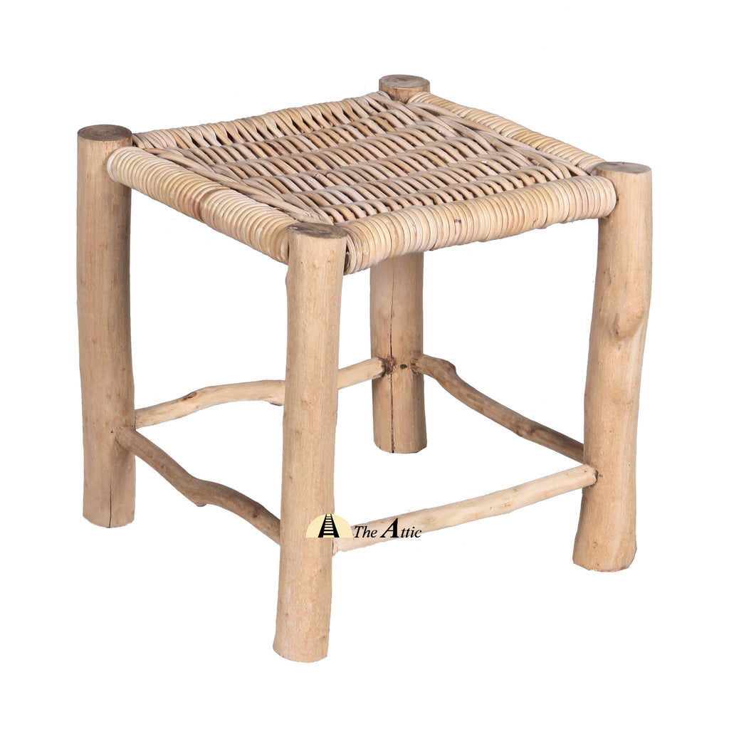 Luhya Stool, Teak with Rattan Weave, Rattan Furniture - TheAttic-Dubai.com
