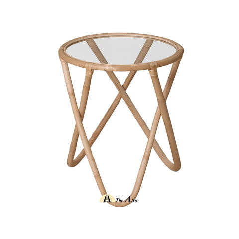 Lulea Rattan Round Side Table, Rattan Furniture - The Attic Dubai