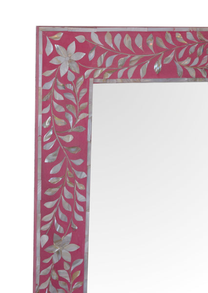 Pink Mother of Pearl Inlay Wall Mirror