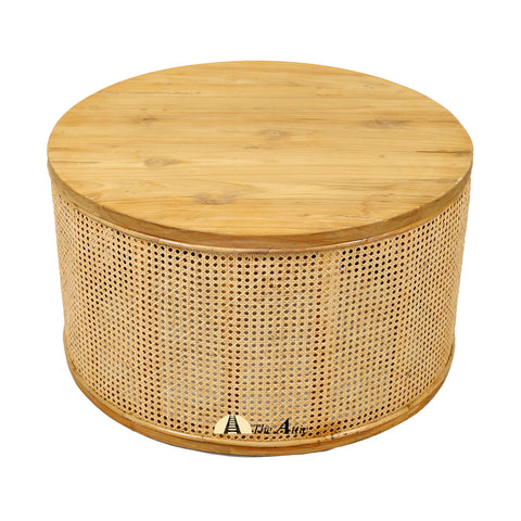 Malta Natural Rattan Round Drum Coffee Table, Rattan Furniture, Wicker - The Attic Dubai
