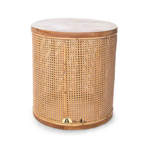 Malta Natural Rattan Web Drum Side Table