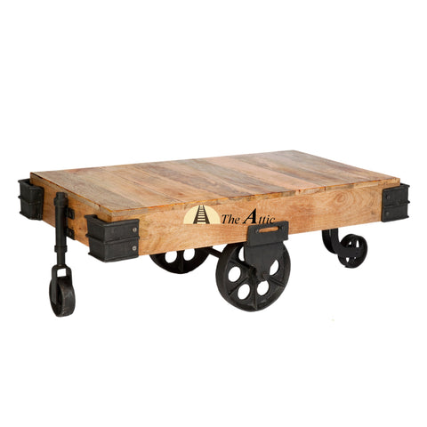 Industrial Factory Cart Coffee Table Hand Crafted Plank Style Rustic Table With Vintage Industrial Black Iron Swivel Caster Wheels