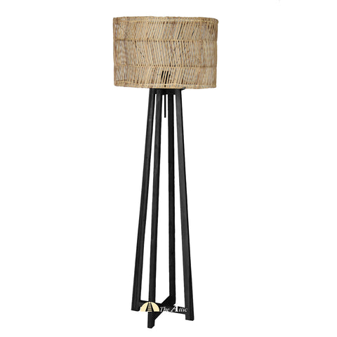 Moana Rattan Floor Lamp, Black with Natural Shade, Rattan Furniture - The Attic Dubai