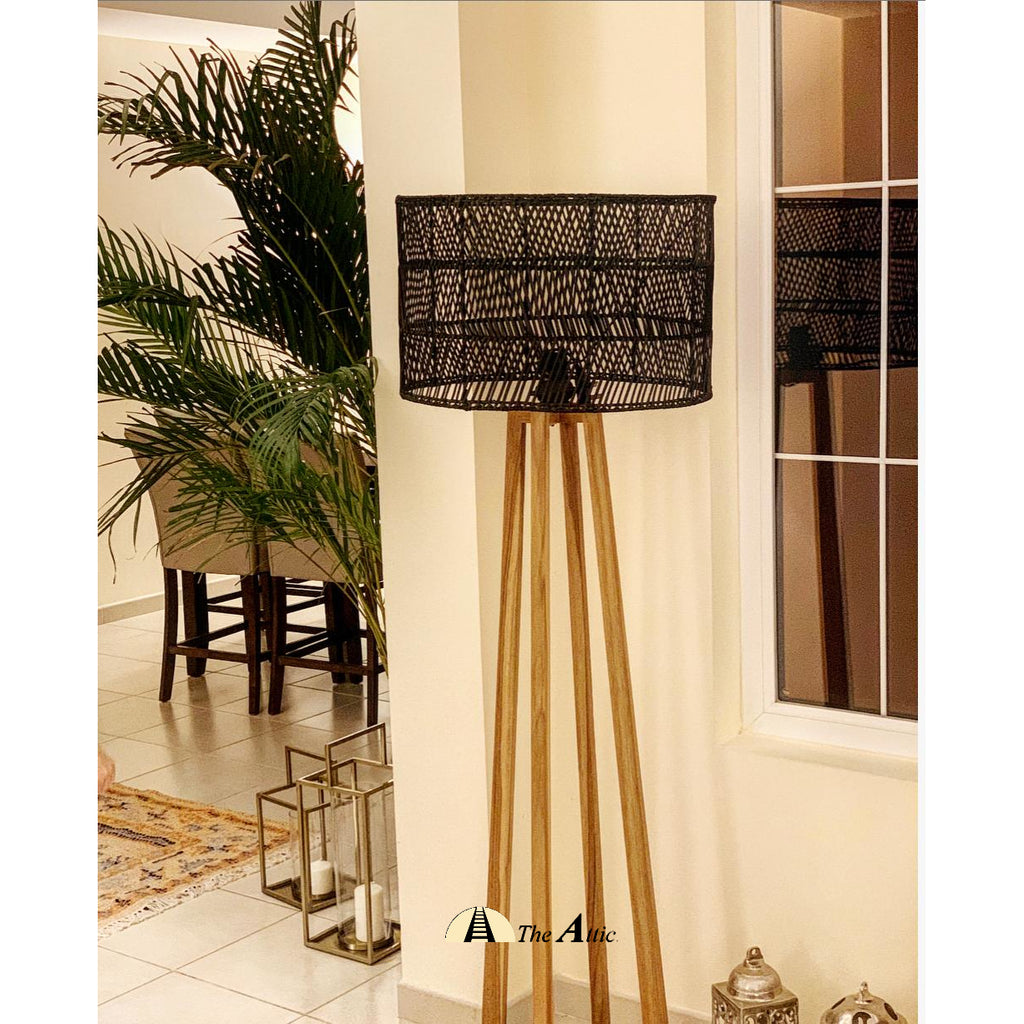 Moana Rattan Floor Lamp, Rattan Furniture - The Attic Dubai