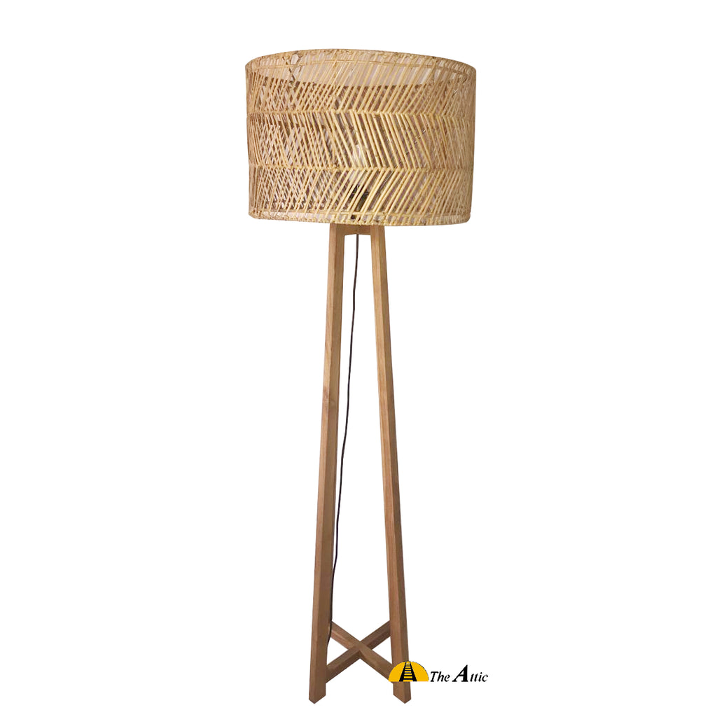 Moana Rattan Floor Lamp with Natural Shade, Rattan Furniture - TheAttic-Dubai.com
