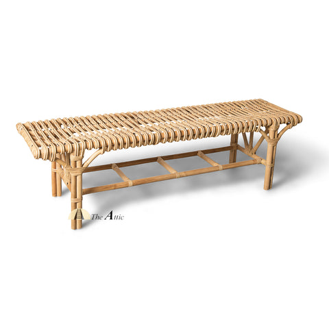 Naomi Rattan Bench Seat, Rattan Furniture, Wicker Furniture - The Attic Dubai