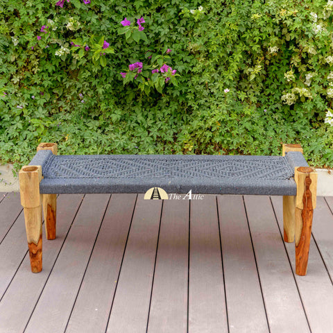 Hand-woven Charpai Bench, Grey - The Attic Dubai