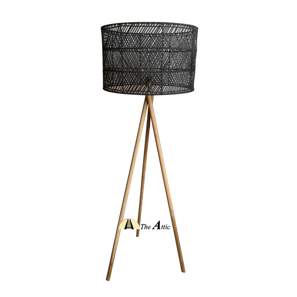 Prague Rattan Twisted Tripod Lamp, Rattan Furniture - The Attic Dubai