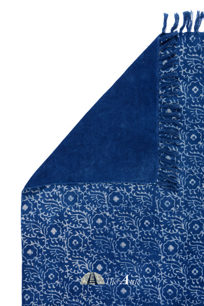 Indigo Blue Cotton Block Print Dhurrie Rug, 4x6 ft