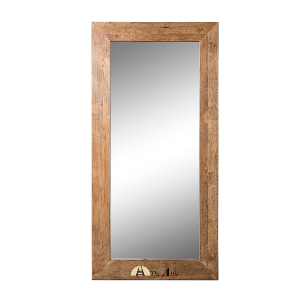 Reclaimed Elm Wood Leaning Full Length Mirror - theattic-dubai.com