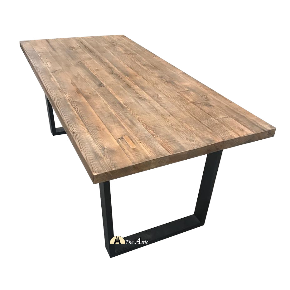 Dallas Recycled Old Pine Rustic Modern Industrial Dining Table, 200cm - The Attic Dubai