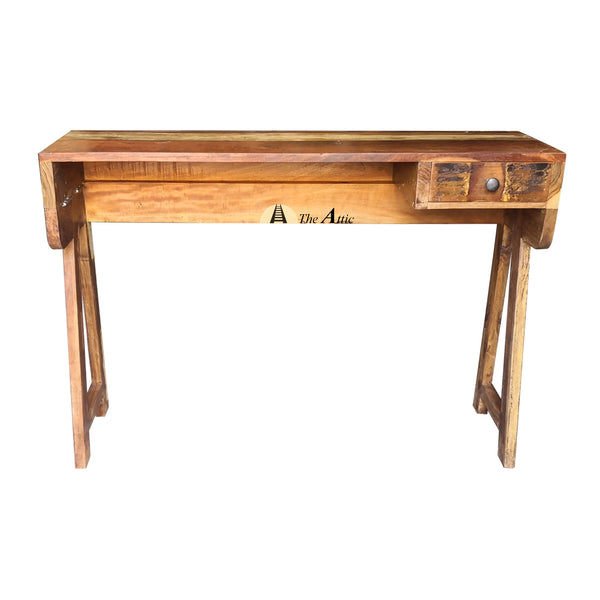Rustic Reclaimed Wood Sawhorse Desk, Console with 1 Drawer