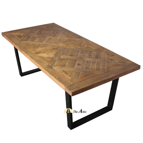 Industrial Reclaimed Pine Parquet Dining Table - theattic-dubai.com