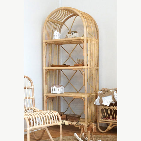 Saigon Natural Rattan Bookshelf, Bohemian Nursery Furniture - The Attic Dubai