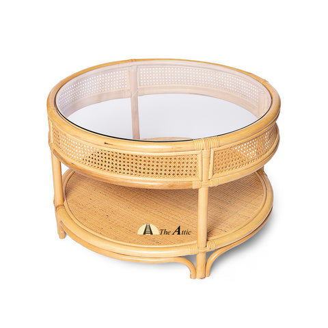 Samoa 2-tier Natural Rattan Round Coffee Table with Glass Top, Rattan Furniture - The Attic Dubai