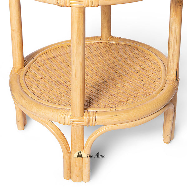 Samoa 2-tier Natural Rattan Round Side Table with Glass Top, Rattan Furniture - The Attic Dubai