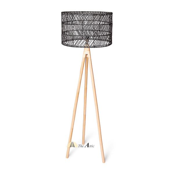 Seattle Rattan Tripod Floor Lamp with Black Shade