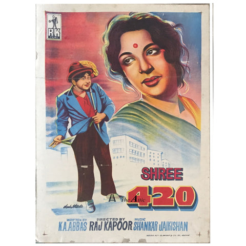 Shree 420 Original Vintage Bollywood Movie Poster