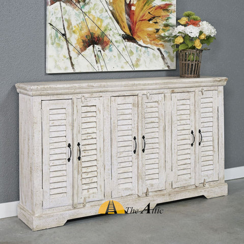 The Attic Shabby Chic Distressed White Shutter Door Cabinet