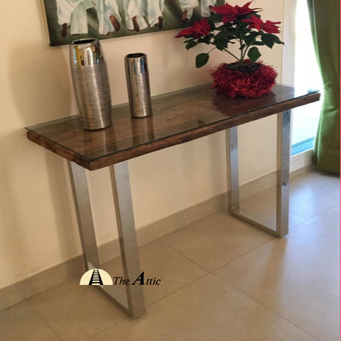 Sleeper Wood Console Stainless Steel Legs Glass Top