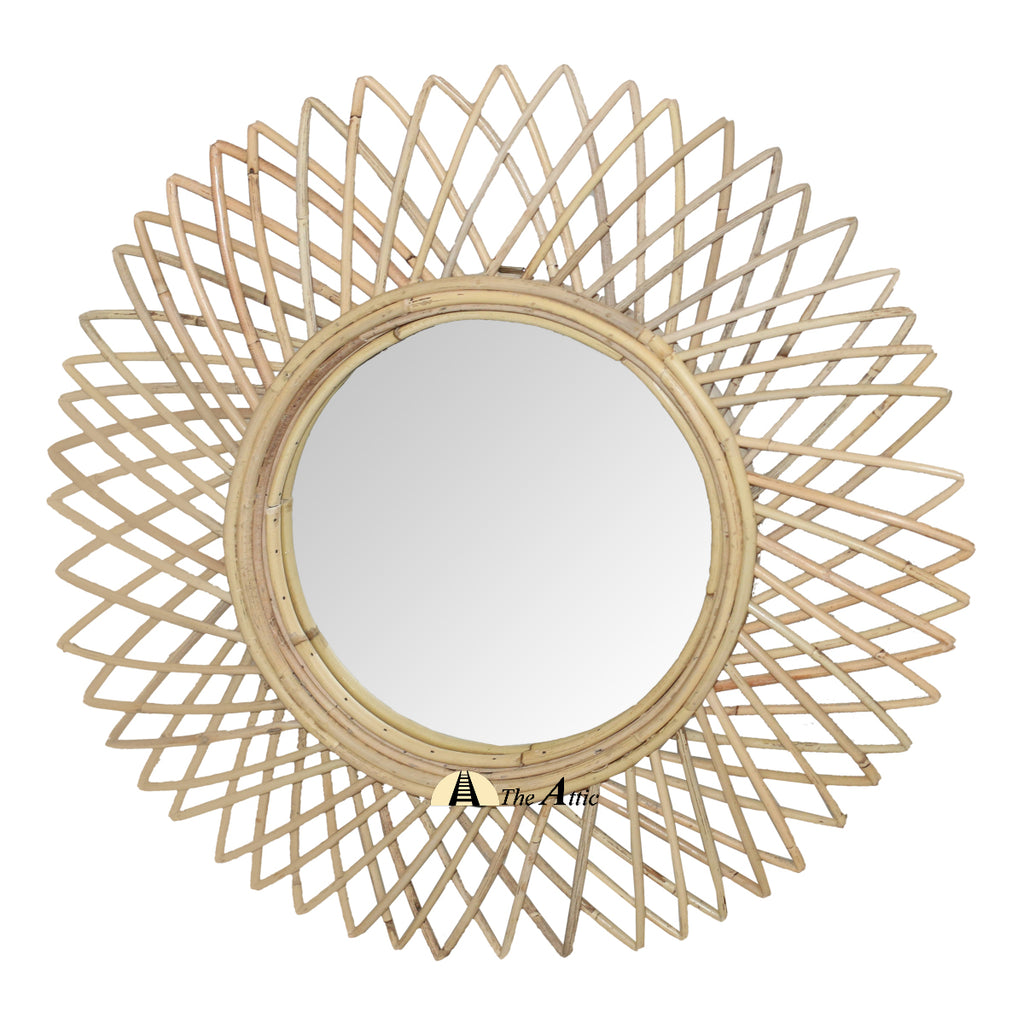 Sunburst Rattan Round Wall Mirror - theattic-dubai.com