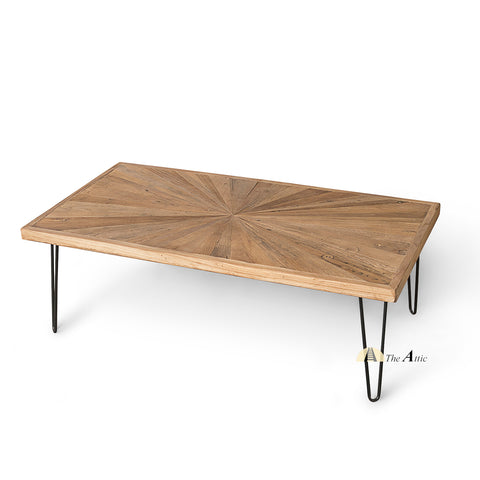 Dallas Sunburst Reclaimed Pine Hairpin Coffee Table - The Attic Dubai