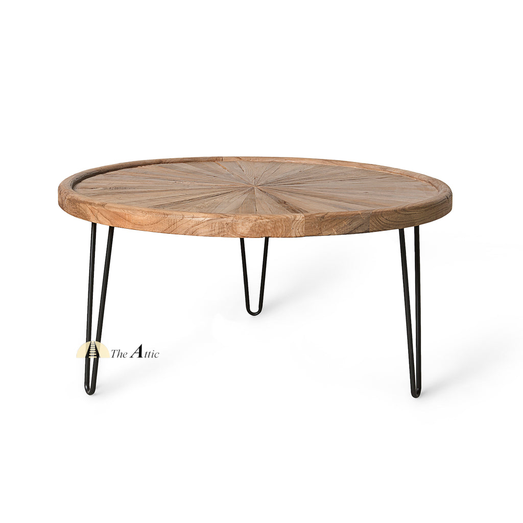 Round Sunburst Parquet Coffee Table with Hairpin Legs - TheAttic-Dubai.com