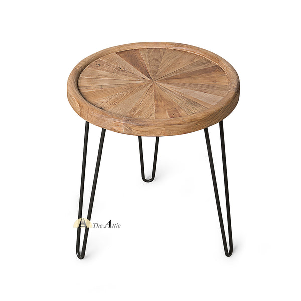 Round Sunburst Parquet Side Table with Hairpin Legs - The Attic Dubai