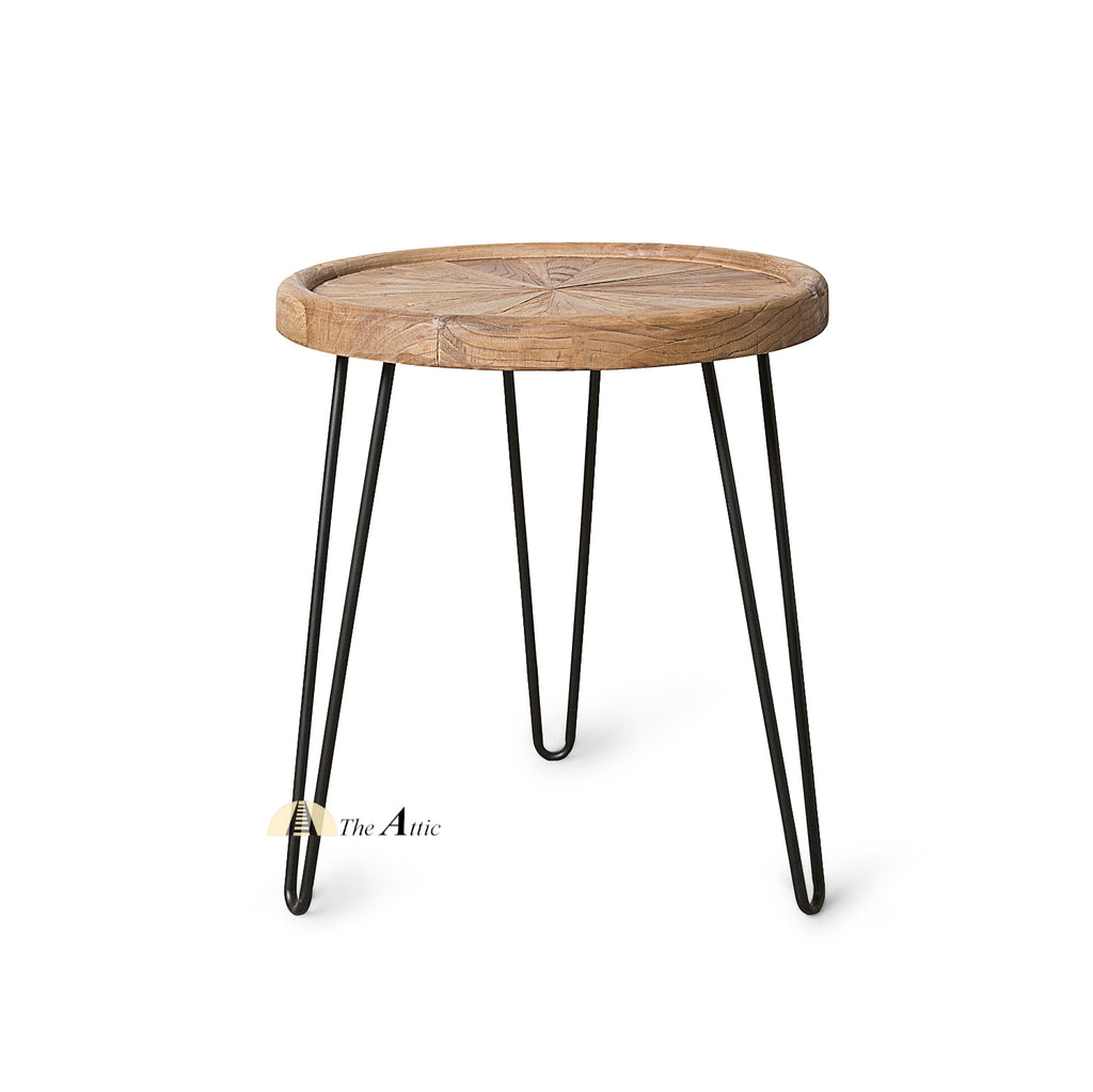 Round Sunburst Parquet Side Table with Hairpin Legs
