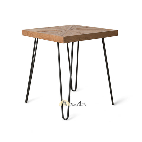 Dallas Sunburst Reclaimed Pine Hairpin Side Table - The Attic Dubai
