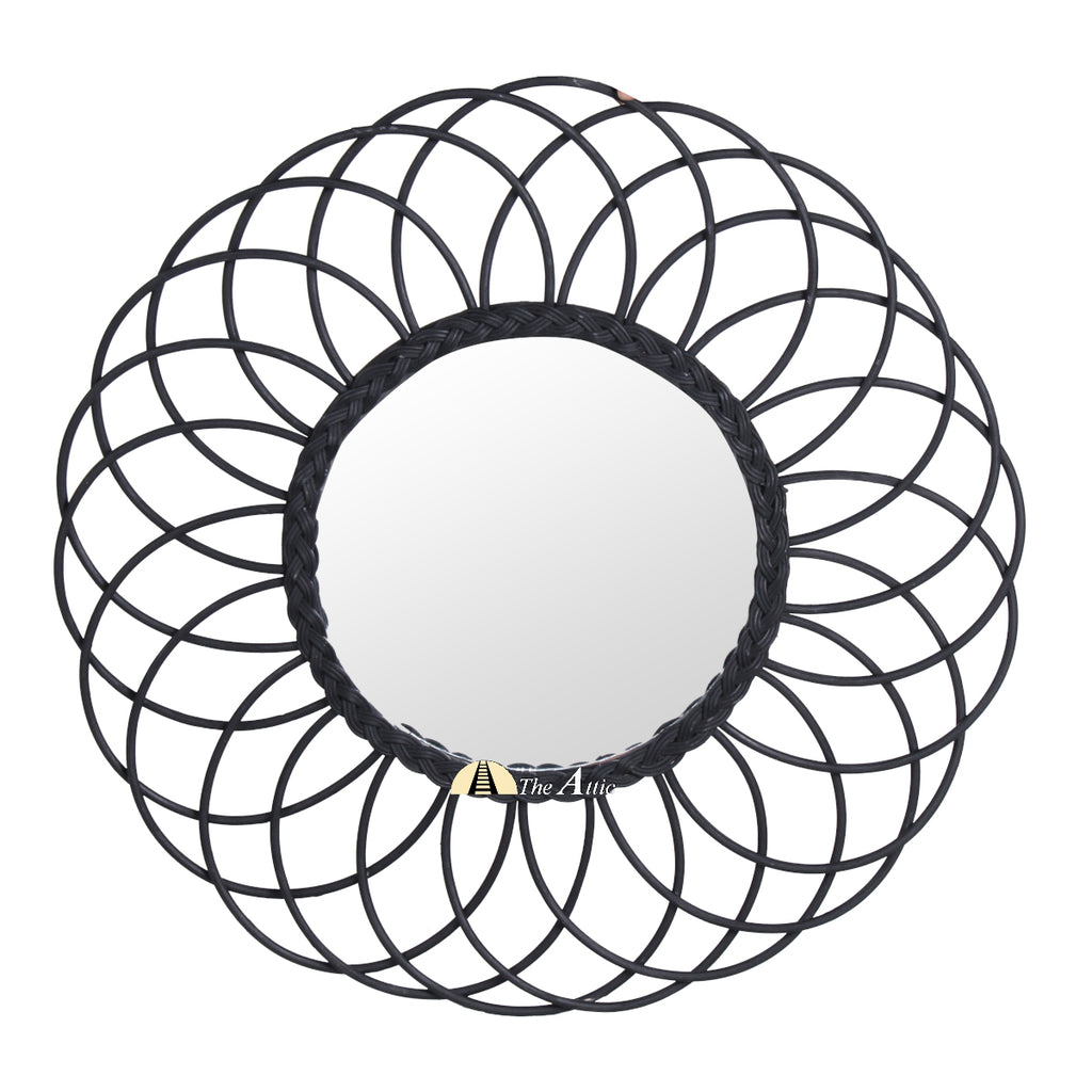 Sunflower Rattan Round Wall Mirror - The Attic Dubai