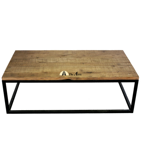 Reclaimed Pine Industrial Coffee Table - The Attic Dubai