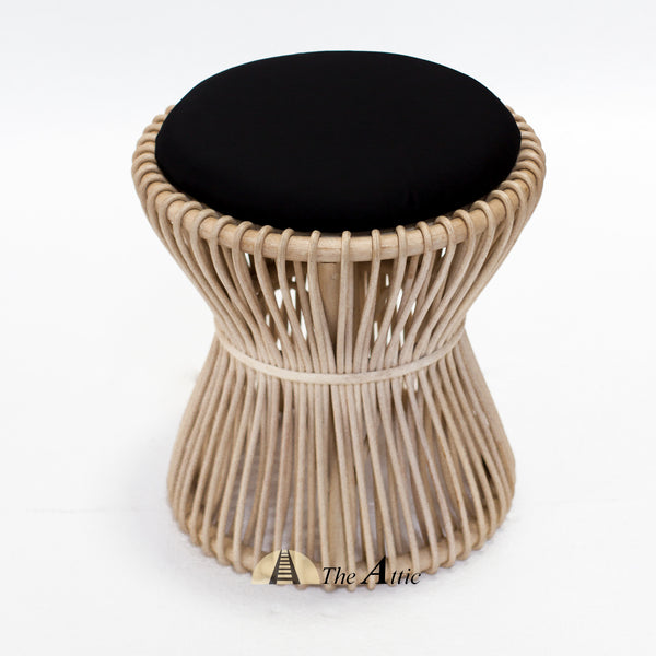 Tampa Natural Rattan Round Stool with Black Cushion - theattic-dubai.com