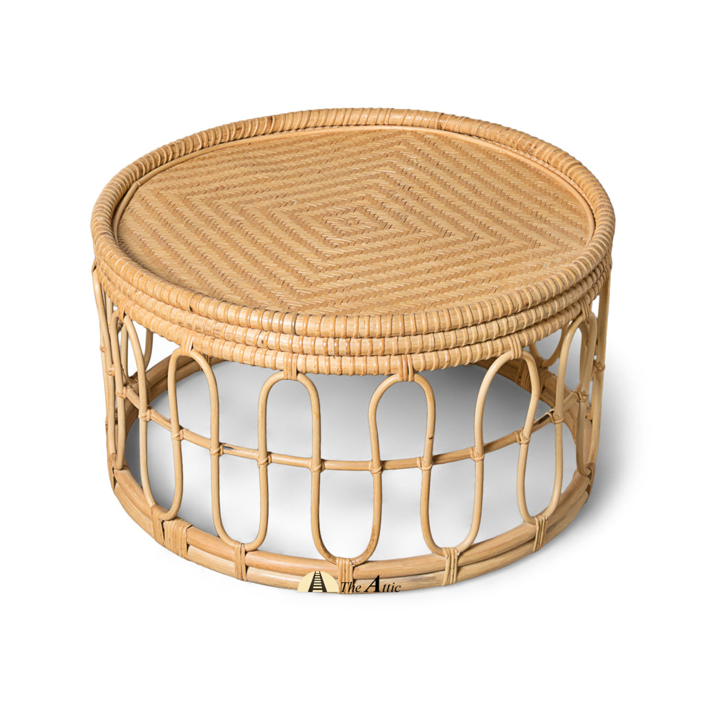 Tonga Rattan Round Coffee Table, Rattan Furniture - The Attic Dubai