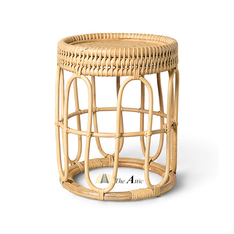 Tonga Rattan Round Side Table, Rattan Furniture - The Attic Dubai