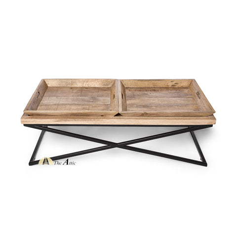 Industrial Butlers Tray X-Leg Coffee Table with Removable Trays - TheAttic-Dubai.com