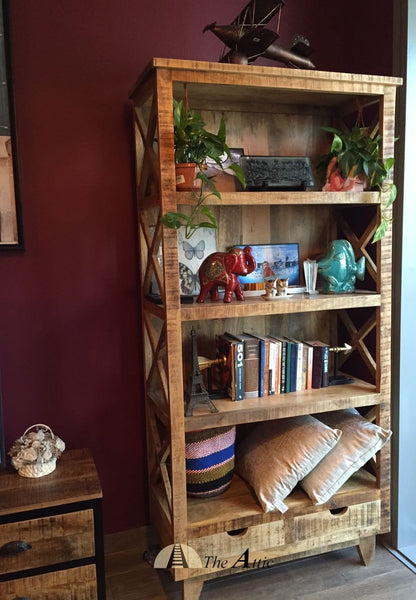 Rustic X-Frame 4-Tier Shelf with 2 Drawers