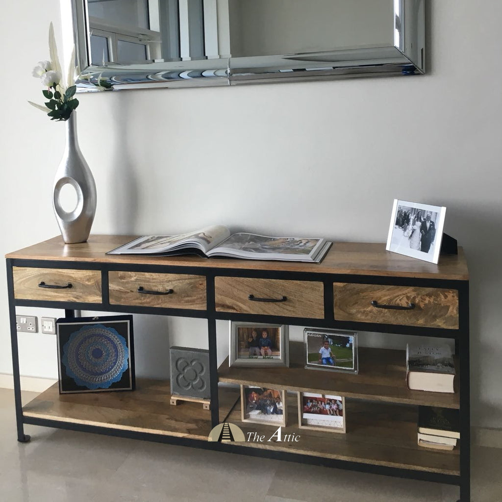 Attkan 4-Drawer Industrial Console, 180cm