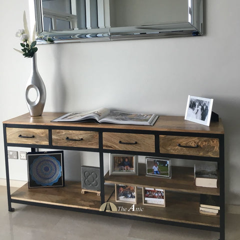 Attkan 4-Drawer Industrial Console, 180cm - The Attic Dubai