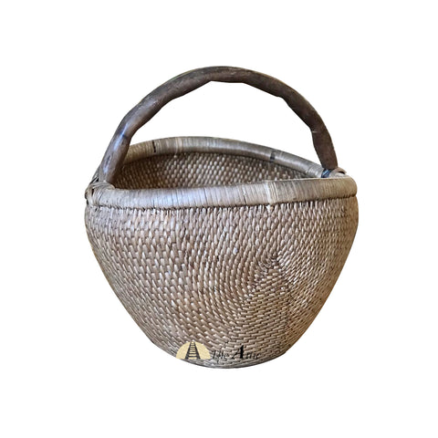 Round Vintage Chinese Willow Basket - The Attic Dubai