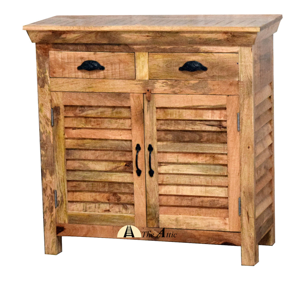 Rustic 2-Door 2-Drawer Shutter Slatted Cabinet