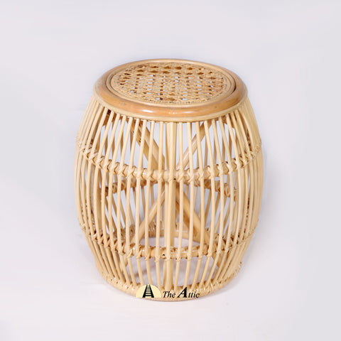 Zahra Natural Rattan Round Side Table / Stool, Rattan Furniture - TheAttic-Dubai.com