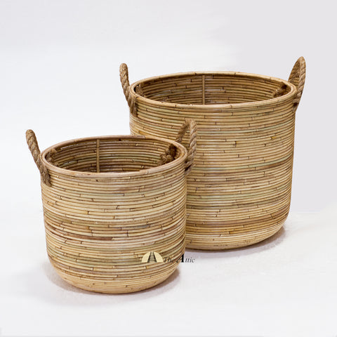 Zaire Rattan Basket with Handles, Natural, Woven Baskets Dubai