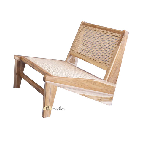 Zen N-shape Teak and Rattan Chair, Chandigarh Chair - The Attic Dubai