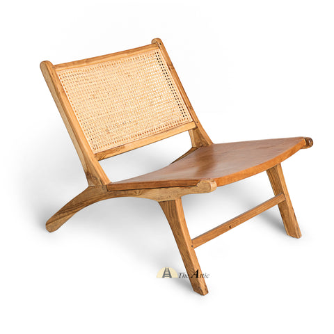Zurich Teak, Leather and Rattan Chair, Chandigarh Chair - The Attic Dubai
