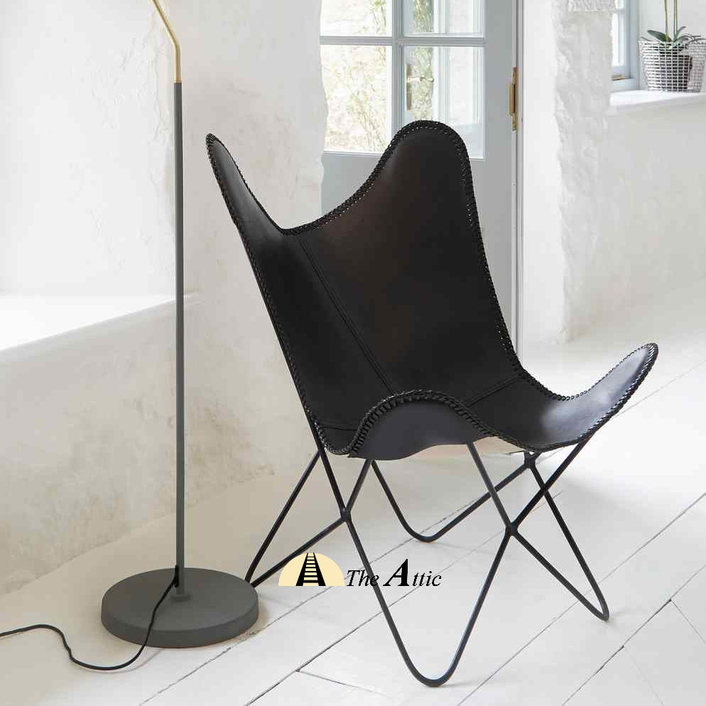 Black Genuine Leather Butterfly Chair The Attic Dubai UAE
