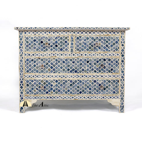 Indigo Blue Aqua & White Mosaic Bone Inlay Console Chest of Drawers, theattic-dubai.com