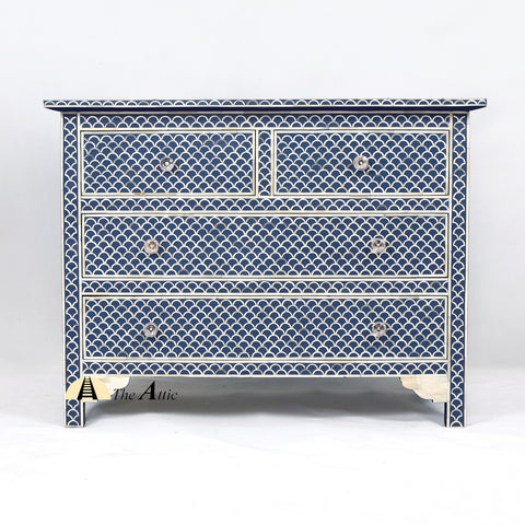 Bone Inlay Chest of Drawers, Fishscale Blue - TheAttic-Dubai.com