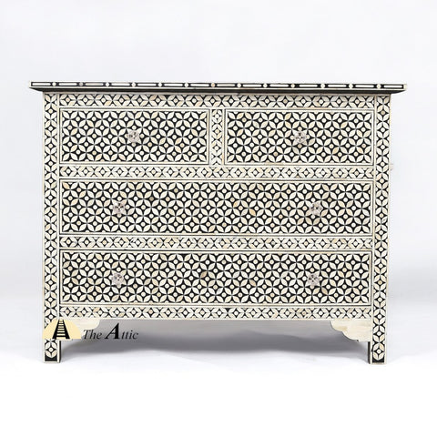 Bone Inlay Chest of Drawers, Moroccan Black - theattic-dubai.com